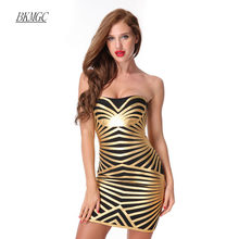 Women Summer Sexy Bandage Dress 2017 New Fashion Above Knee Backless  Strapless Appliques Print Evening Party Gold Dress 0a2258520db2