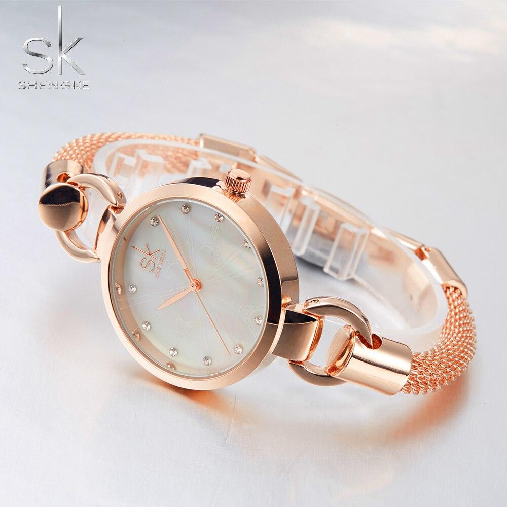 SK Nowe mody kobiet zegarki eleganckie różowe złoto diamenty - Zegarki damskie - Zdjęcie 5
