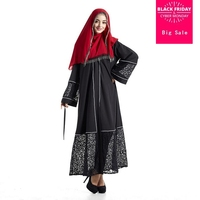 Muslim Islamic adult temperament hollow cut pure color abaya black big size was thin long dress malaysia dubai fashion w1907