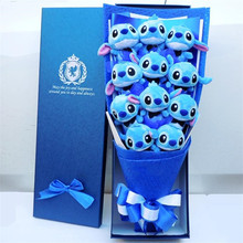 Cute Stitch plush toys stitch bouquet gift box stuffed animals Lovely Doll Best Gift for Children toy Christmas Valentine's gift stitch bouquet plush stuffed carton animals toys artificial kawaii cartoon fake flowers best birthday christmas day gifts