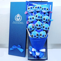 Cute Stitch plush toys stitch bouquet gift box stuffed animals Lovely Doll Best Gift for Children toy Christmas Valentine's gift