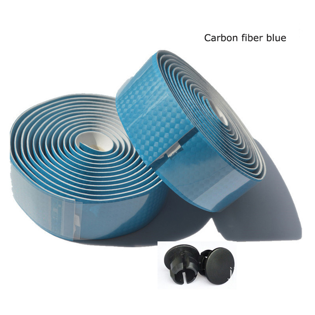 Carbon Fiber Bike HandleBar Grip Tape +2 Bar Plugs