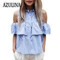 AZULINA 2017 Verão Mulheres Casual Ombro Frio Ruffles Blusa Camisas Turn Down Azul Casual Sexy Tops Blusas Das Senhoras Chemise Femme
