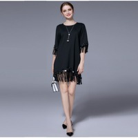 YUS 2017 Large Size 5xl Half Sleeves O Neck Above Knee Mini Dress Tassel Sequin Irregular