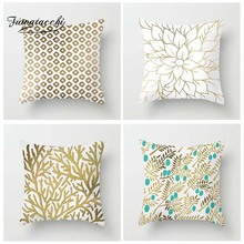 Fuwatacchi Gold  Cushion Cover Dot Plant Floral Geometric Coral Printed Pillow Cover Decorative Pillows for Sofa Car цены
