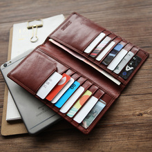 LANSPACE جلد أصلي للرجال محافظ رقيقة جدا محفظة العلامة التجارية الشهيرة محفظة الرجال