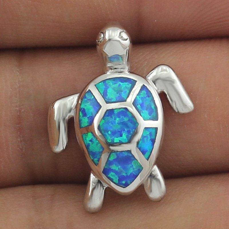 HAIMIS Free The Chain Free Gift Box Cute BlueFire Opal SeaTurtle Design Pendant Necklace For Women OP408