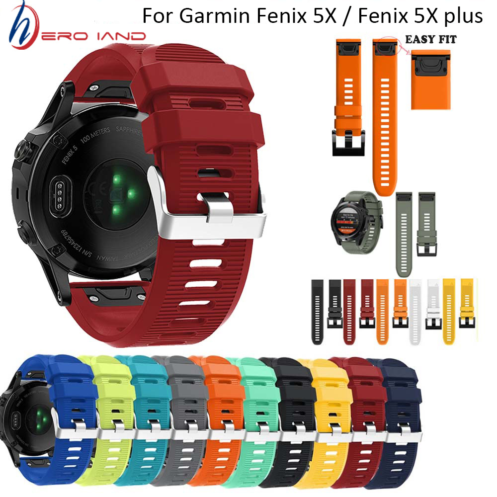 New 26mm Watchband Strap For Garmin Fenix 3 Watch Quick Release Silicone Easy Fit Wrist Band Strap For Garmin Fenix 5 X/5X Plus