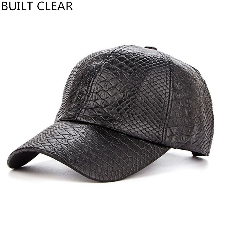(BUILT CLEAR) new high quality autumn and winter crocodile pattern PU leather men sports snapback female black baseball cap купить samsung galaxy core i8262 duos metallic blue