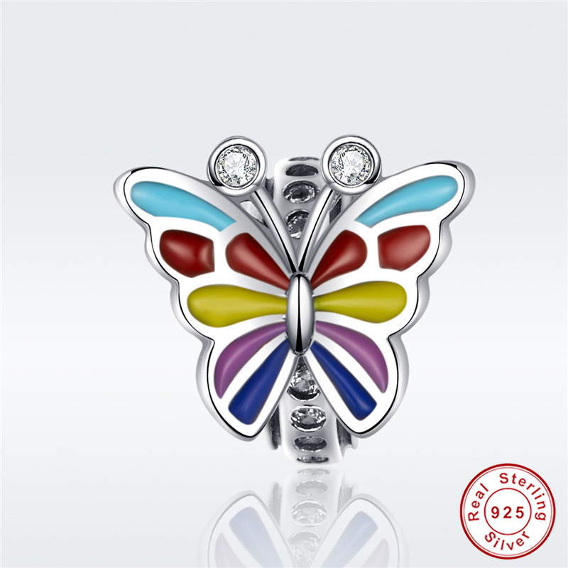 fit Pandora Bracelet Original 925 Sterling Silver Colored Butterfly Wing Beads S925 Fairy World Insect Charms Jewelry Making