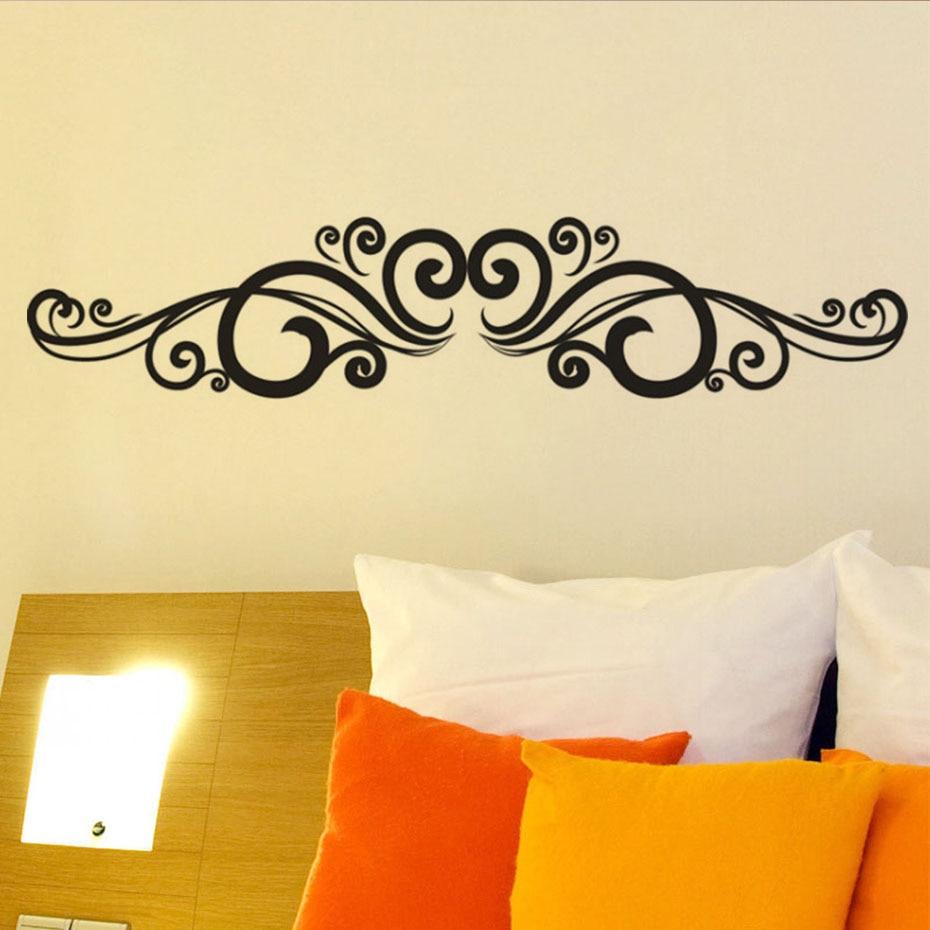 DCTOP Symmetrical Swirl Flowers Wall Sticker Bedroom Headboard For ...