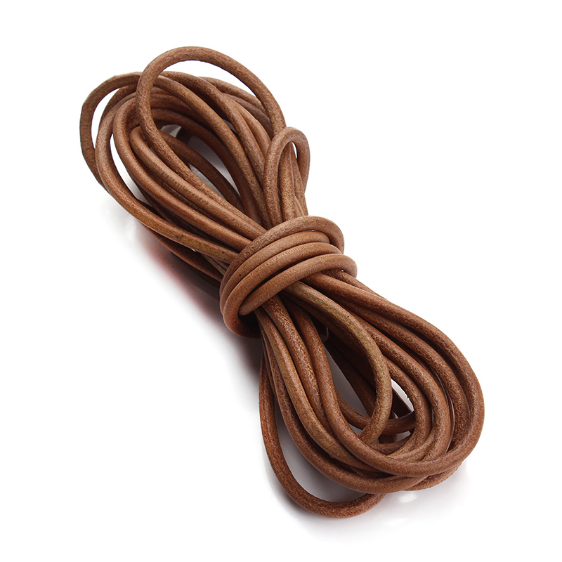 XINYAO 5m/lot 1 1.5 2 2.5 3 4 mm Genuine Cow Leather Cord Bracelet Necklace Findings Round Leather Rope String Jewelry Making artificial leather rope round collarbone necklace