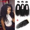 Malaysian Virgin Hair With Closure 3 Bundle Deals Kinky Curly Weave Human Hair With Closure Malaysian Curly Hair With Closure