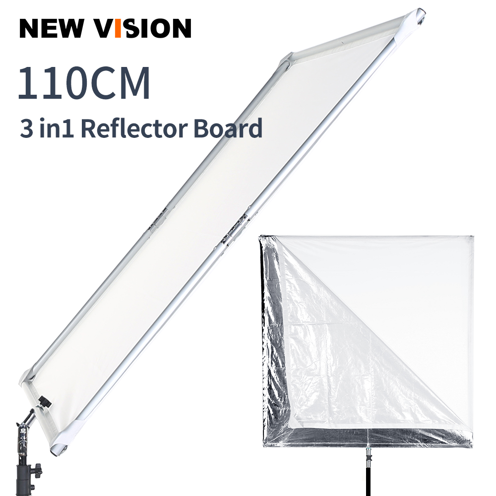 110cm 43in Scrim Large Silver Diffuser Reflector Collapsible Aluminum Alloy Frame with Angle Adjustment Handle for