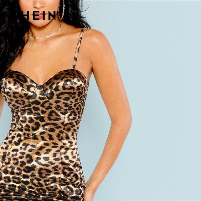 SHEIN Multicolor Sexy Club Leopard Print Bustier Natural Waist Skinny Slip Cami Dress Autumn Party Women Short Dresses 4