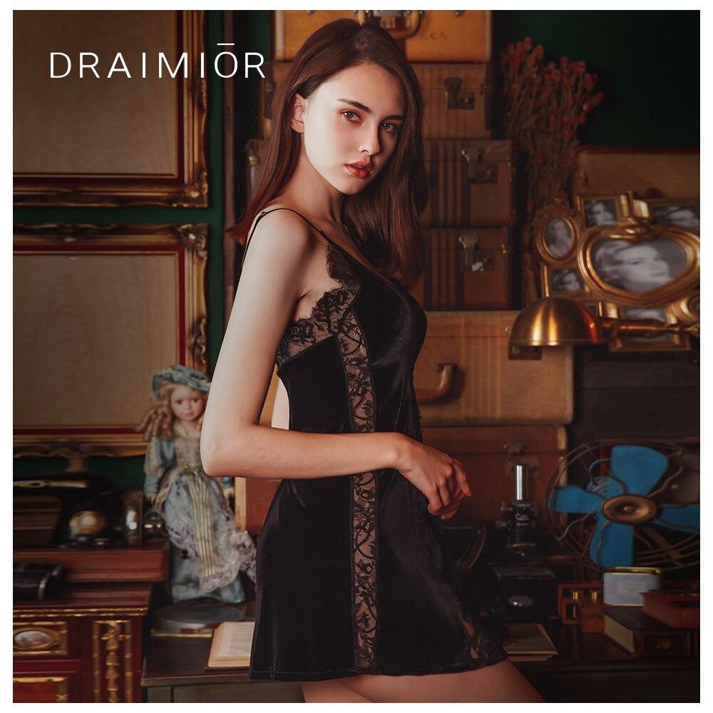 Exotische Damenbekleidung Draimior Licht Luxus Nachthemd Für Frauen Spitze Patch Samt Babydoll Kleid Nachtwäsche Sexy Dessous Vestido De Mujer Dr0007 Exotische Kleidung