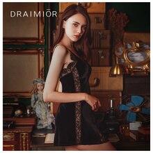 DRAIMIOR Light luxury nightdress For Women Lace Patch velvet Babydoll Dress Sleepwear Sexy Lingerie vestido de mujer DR0007