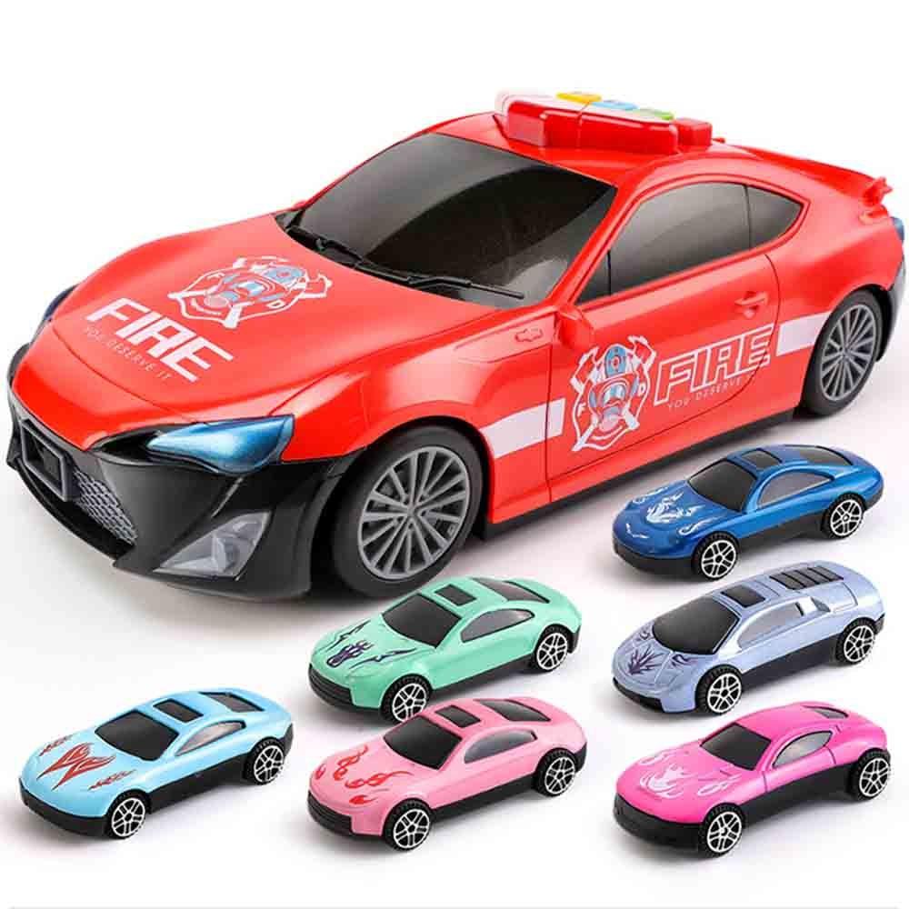 Enfants multi-fonction stockage voiture jouet éducation précoce Puzzle voiture thème modèle stockage Police voiture + 6 alliage Carr cadeau