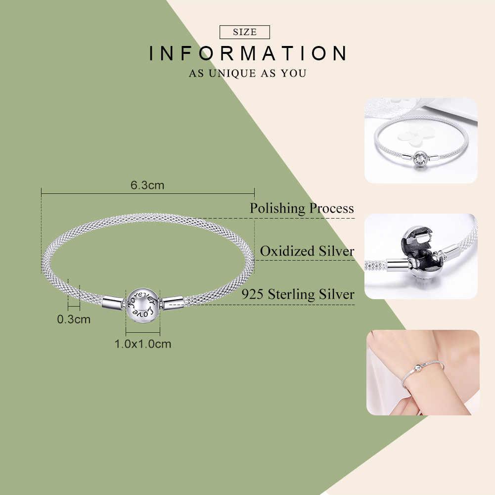 Pulsera de plata de ley 925 Real de alta calidad para siempre, amor, para mujer, se ajusta a la marca Original, joyería de cuentas DIY, joyería CQB105
