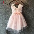 Mint/rosa/branco, as meninas do bebê de três flores de renda vestido de ombro, crianças vestido de verão bonita, LHQ01