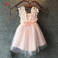 mint/pink/white,baby girls three flowers lace shoulder dress, kids pretty summer dress,LHQ01