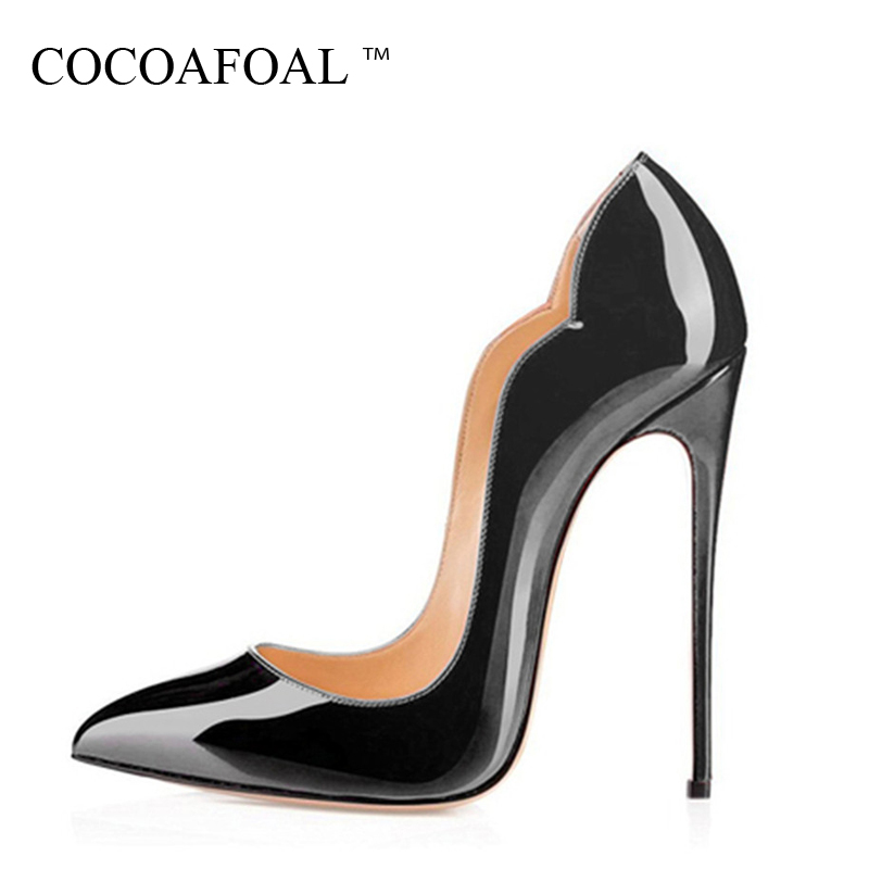 COCOAFOAL Stiletto Woman <font><b>Purple</b></font> <font><b>Shoes</b></font> Plus Size 34 - 43 Sexy Party Wedding Ultra High Heels <font><b>Shoes</b></font> Pointed Toe Red 12 CM Pumps