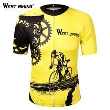 WEST BIKING Bike Short Sleeve Team Women/Men Yellow Spandex Cycling Jersey Tops/Short Sleeve Bike Clothing Summer Cycling Jersey