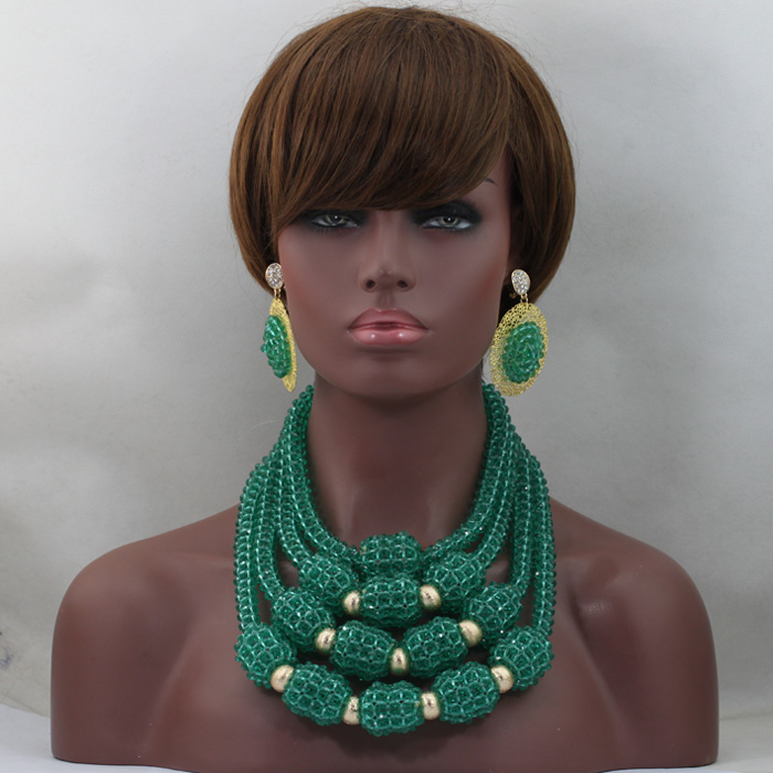 Teal Green Chunky Bib Crystal Statement Necklace Set Handmade Nigerian Beaded Jewelry 2017 Free Shipping WD508 цены онлайн