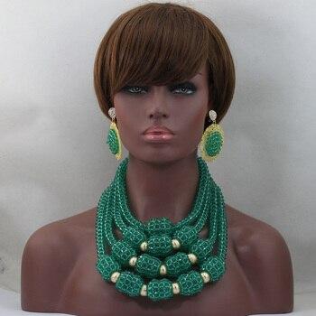Teal Green Chunky Bib Crystal Statement Necklace Set Handmade Nigerian Beaded Jewelry 2017 Free Shipping WD508
