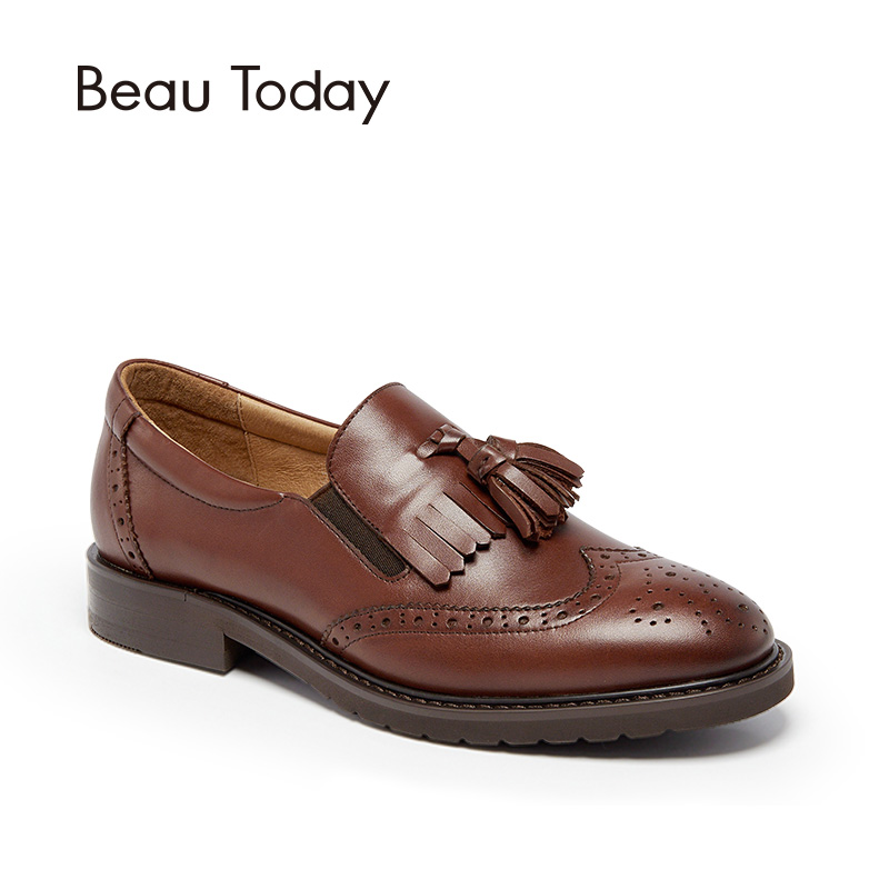 BeauToday Oxfords Shoes Women Wingtip Brogue Style Genuine Calfskin Leather Handmade Round Toe Slip On Casual Dress Flats 21047 beautoday genuine leather crystal loafer shoes women round toe slip on casual shoes sheepskin leather flats 27038