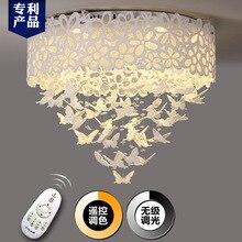 Большие бабочки кристалл светодиодный потолочный светильник акриловые резные краткое современный персонализированные романтическая гостиная фонари