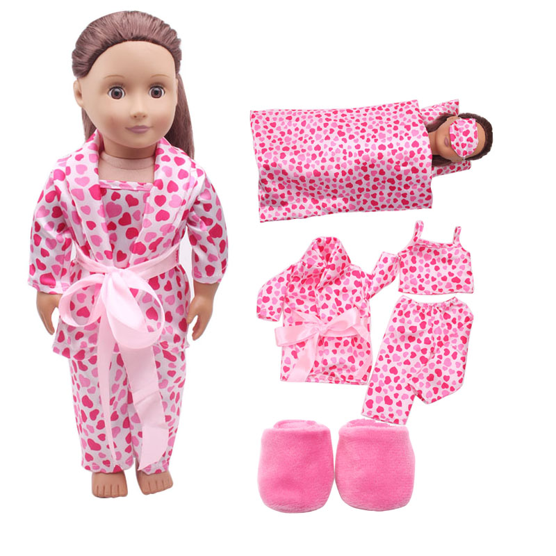 Handmade 18 inches of American girl dolls clothes accessories set pants pajamas quilt pillow eye mask