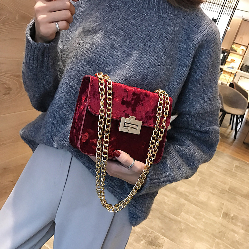 Fashion Crossbody Bags for Women New Corduroy Chain Shoulder Slung Small Square Bag Casual Party Travel Wild Lady Clutch in Top Handle Bags from Luggage Bags