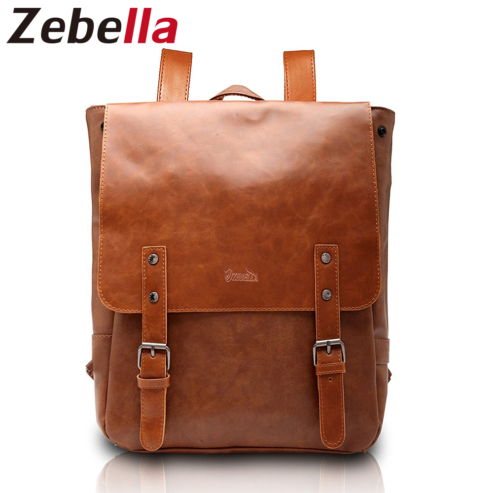 Zebella Preppy Style Teenagers PU Leather Backpack Women Waterproof Backpacks Mochila Men School Bags For Students girls boys children school bag minecraft cartoon backpack pupils printing school bags hot game backpacks for boys and girls mochila escolar