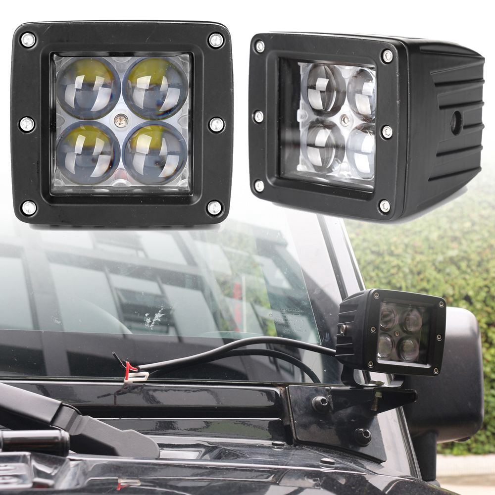 2pcs 4 12W Square LED Offroad Light Spot Light for Tractor Boat Off Road 4WD 4x4 Truck SUV ATV Fire engine,excavator