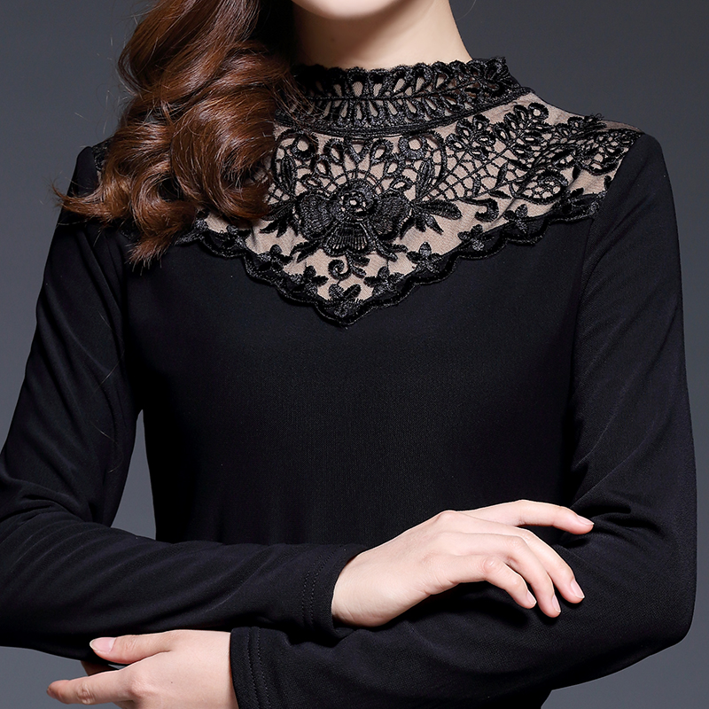 2016 Winter New Lace Velvet Thick Women Shirt Plus Size Female Tops Gauze Casual Slim Stand