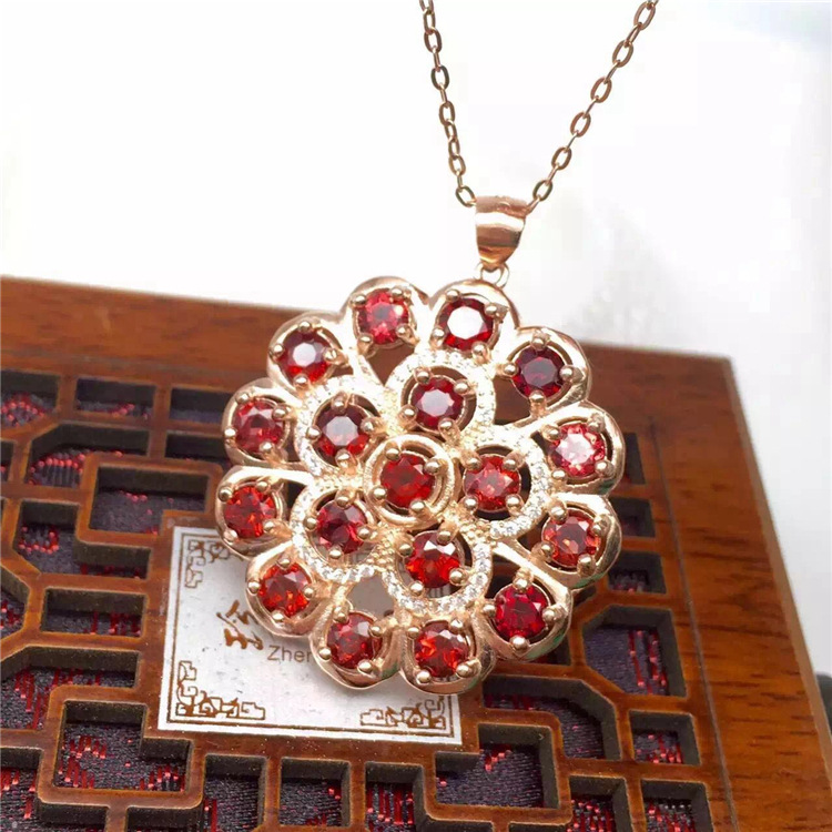 KJJEAXCMY boutique jewels 925 pure silver inlaid with gold jewelry natural garnet jewelry necklace - 5