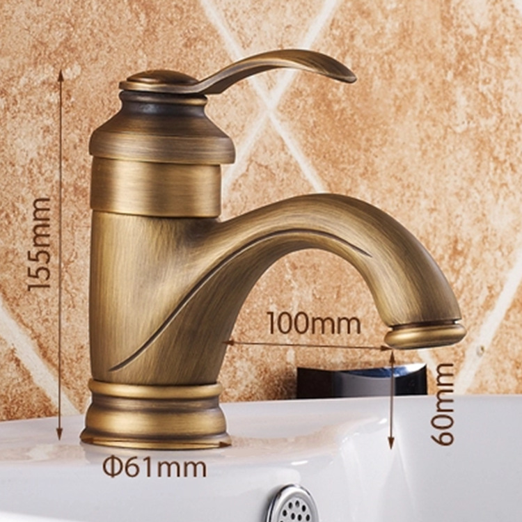 European style copper antique bathroom basin mixer tap with single handle single hole brass basin faucets