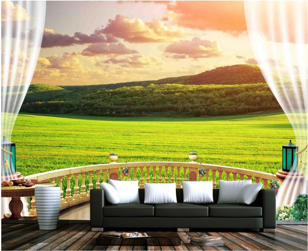 3d風景壁紙3d壁紙森テラス青空草原日没白い雲太陽背景壁フォト3d壁紙