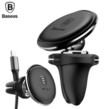 Baseus Universal Cable Clip Car Phone Holder For iPhone 8 7 6 360 Degree Air Vent Mount Magnet Mobile Phone Holder GPS Bracket