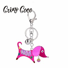 Red Dog Key Chains for Women Enamel Animal Pet Keychain Car Key Holder Jewelry Accessories High Quality Bag Pendants Ring Gift