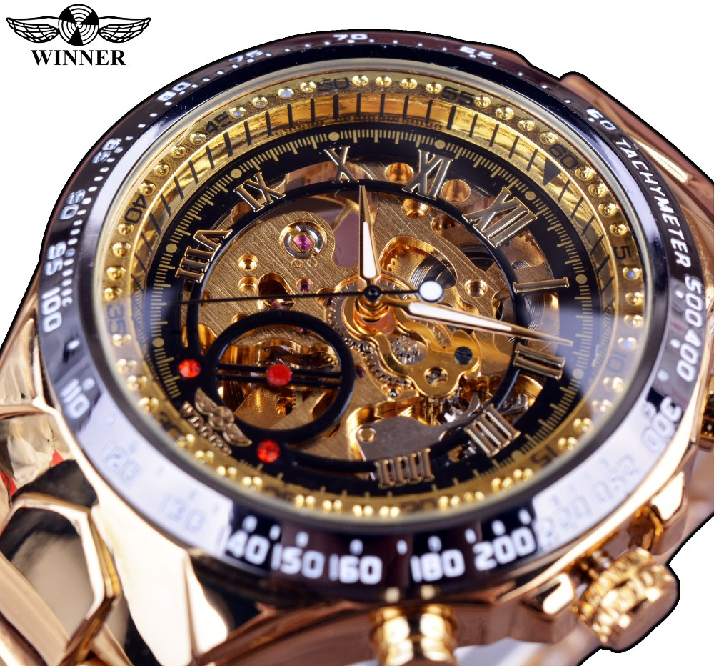 Ganador nuevo número bisel de diseño reloj de oro relojes para hombre Top marca de lujo Montre Homme reloj hombres reloj automático esquelético