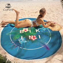 CUPSHE 2019 Women Tropical Palm Leaf Round Beach Towel With Tassel