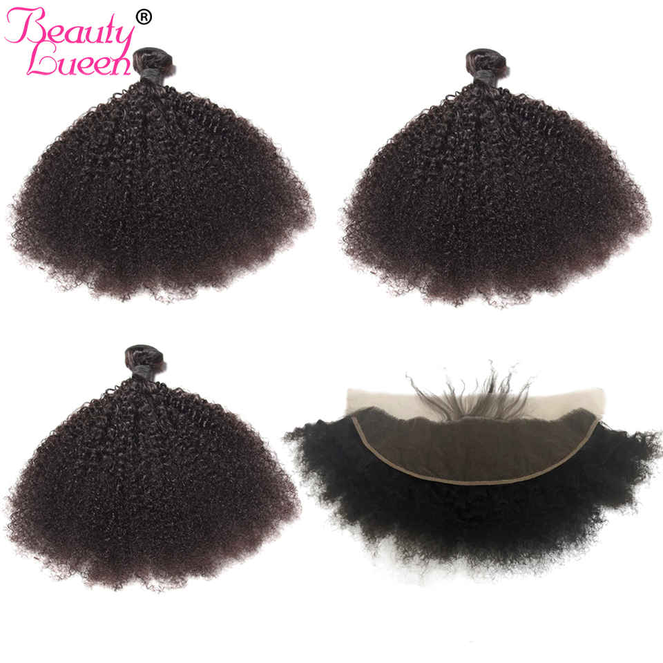 Mongolian Afro Kinky Curly Hair With Ear To Ear Pre Plucked Lace Frontal Closure With Baby Hair Remy Human Hair Weave 3 Bundles