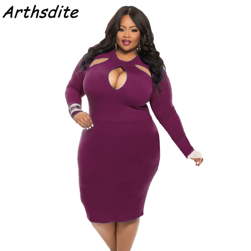 Arthsdite Large Size 4XL Dress 2017 Plus Size Midi Dress