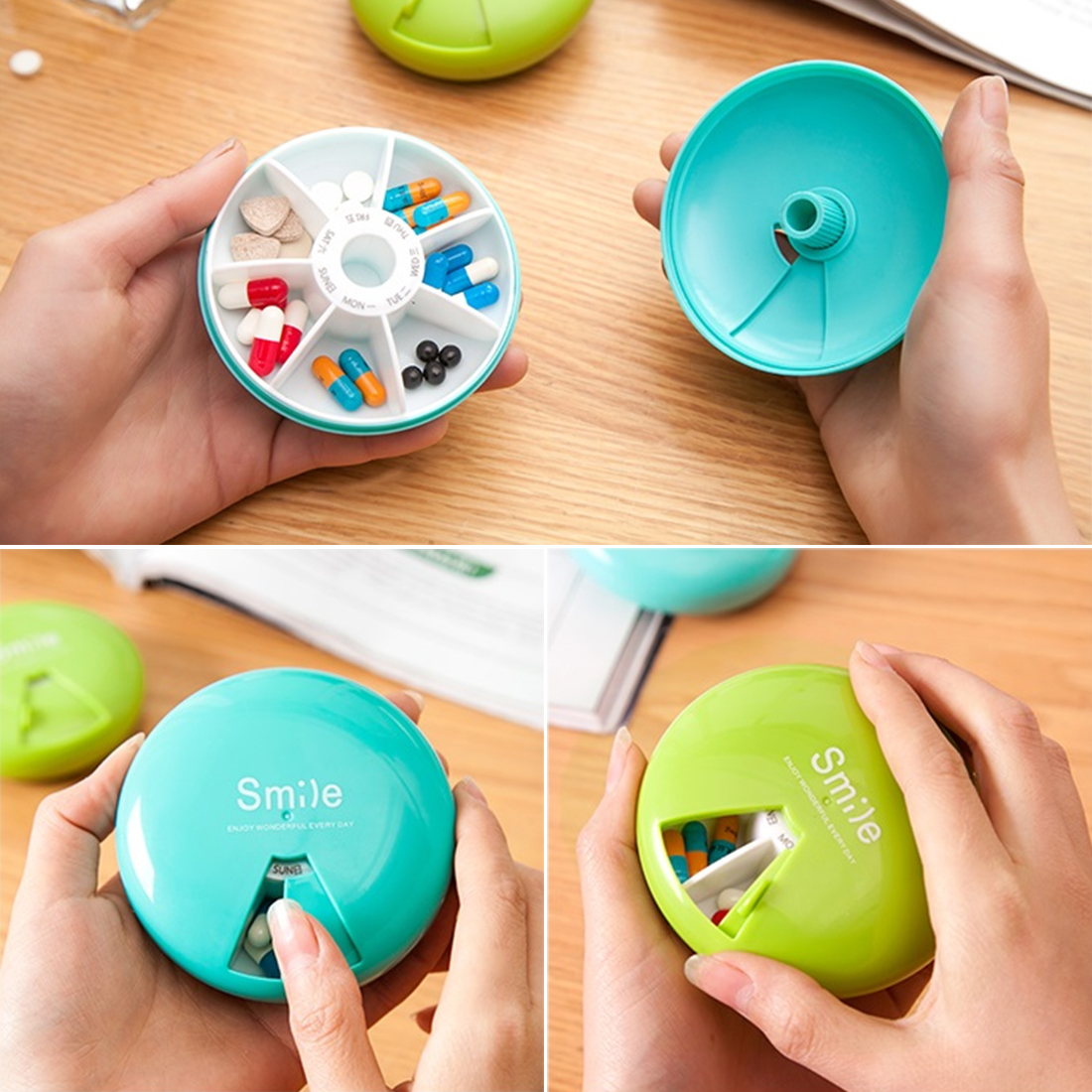 Practical PP Medical Kit Portable Rotation Weekly Rotating Pillbox Travel Pill Case Medicine Box Drugs Pill Container 7 Days ...