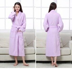 Image 5 - Халат хлопковый махровый для мужчин и женщин, всесезонный банный халат для пар, мягкая дышащая впитывающая одежда для сна, ночная рубашка