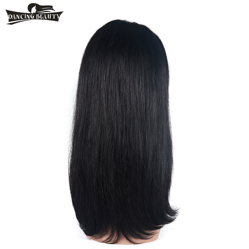 DANCING BEAUTY Pre-Colored Straight Brazilian Hair Lace Front Wig Human Hair Wigs For Women Non Remy Natural Color One Piece
