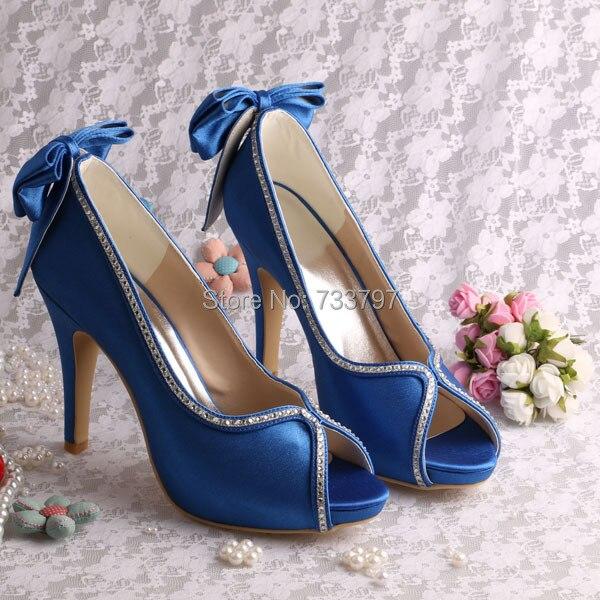 Wedopus MW1348R Wholesale Designer Shoes for Women Blue Satin Platform Wedding Shoes Bow Pumps