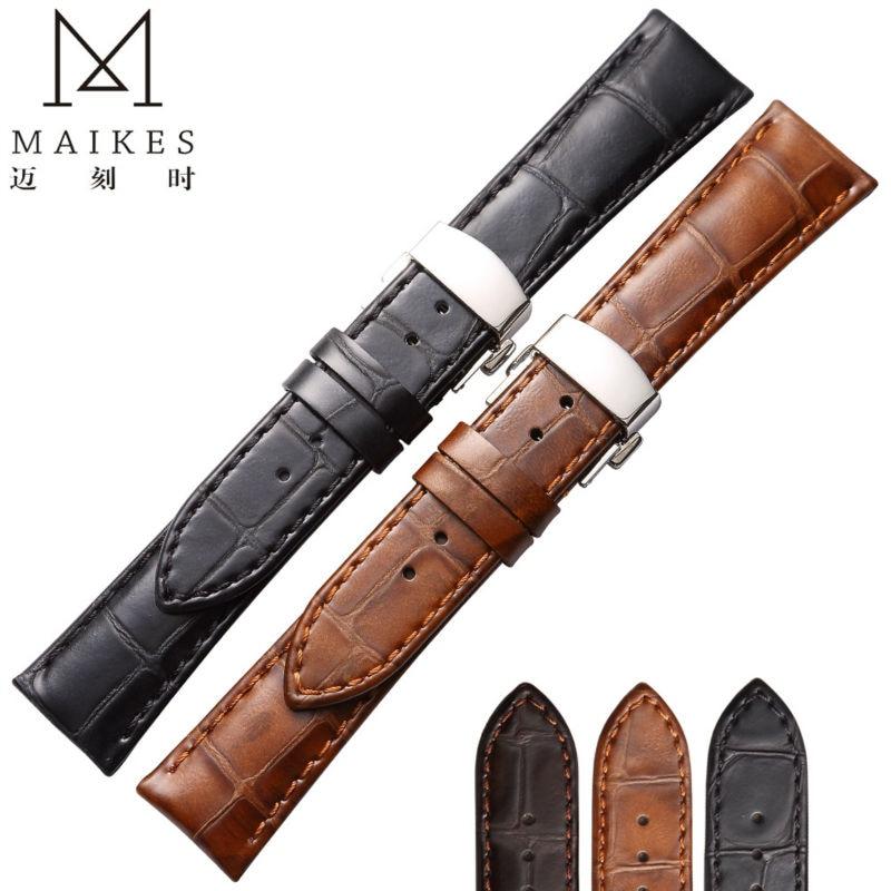 f2c4ead4a2f Maikes genuína pulseira de couro 22mm 20mm para moda casual relógios  pulseira de couro de bezerro butterfly fivela para omega